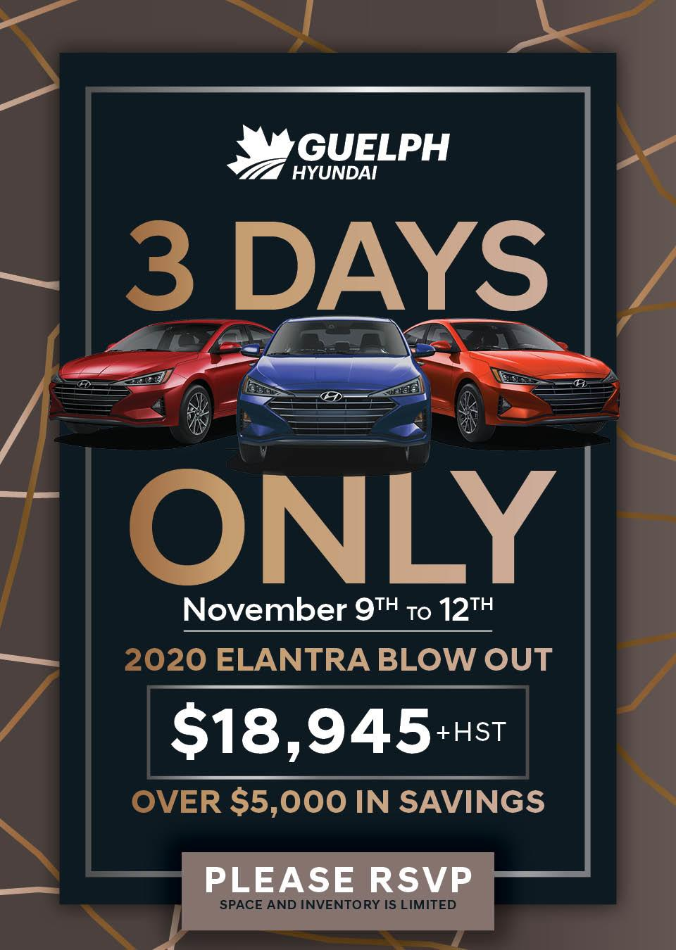3 Days only. November 8th - 11th
